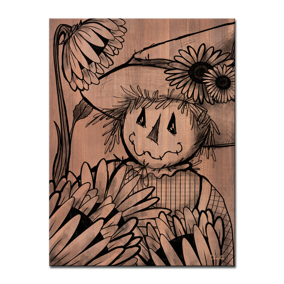Ready2HangArt 'Sunflower Scarecrow' Wrapped Canvas Fall Wall Art