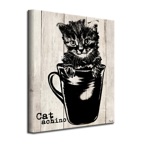 'Catachino' Wrapped Canvas Cat Wall Art