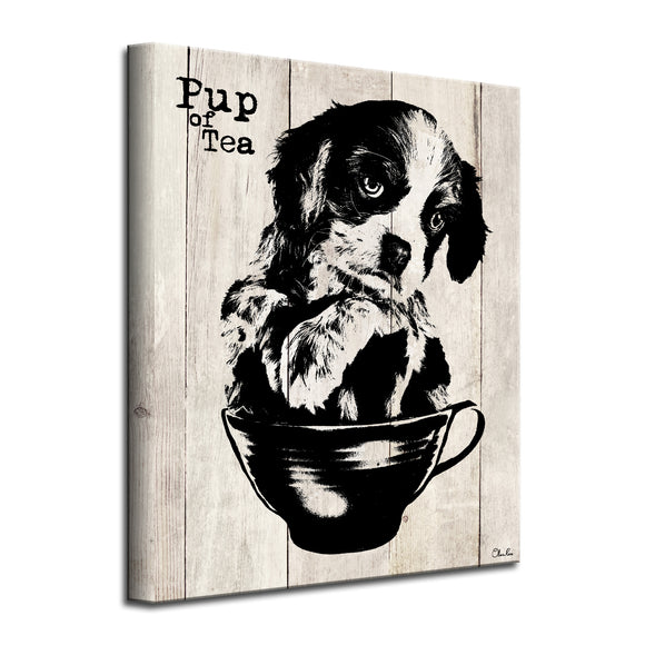'Pup of Tea' Wrapped Canvas Dog Wall Art