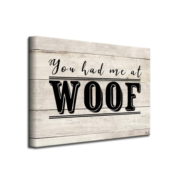 'WOOF' Wrapped Canvas Dog Wall Art
