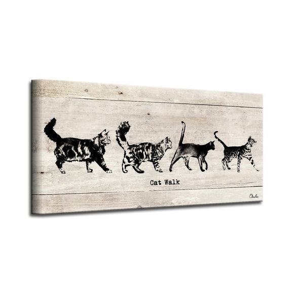 'Cat Walk' Wrapped Canvas Pet Wall Art