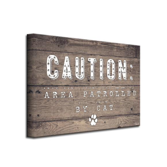'Caution-Cat' Wrapped Canvas Pet Wall Art