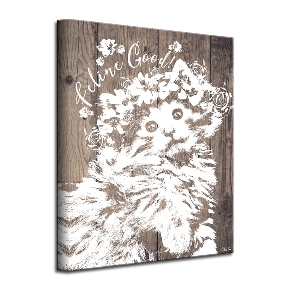 'Feline Good' Wrapped Canvas Cat Wall Art