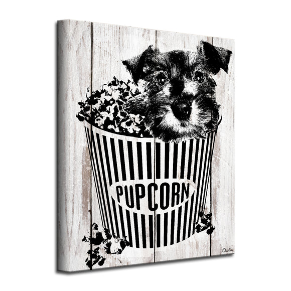 'Pupcorn' Wrapped Canvas Dog Wall Art