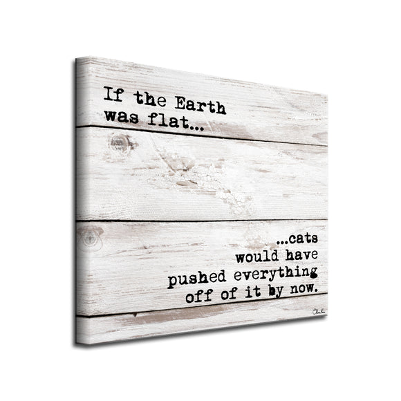 'Flat Earth-Cat' Wrapped Canvas Pet Wall Art
