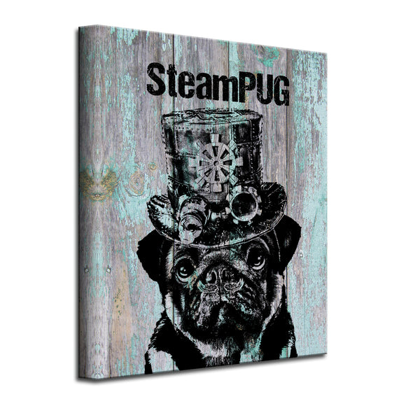 'SteamPUG' Wrapped Canvas Dog Wall Art