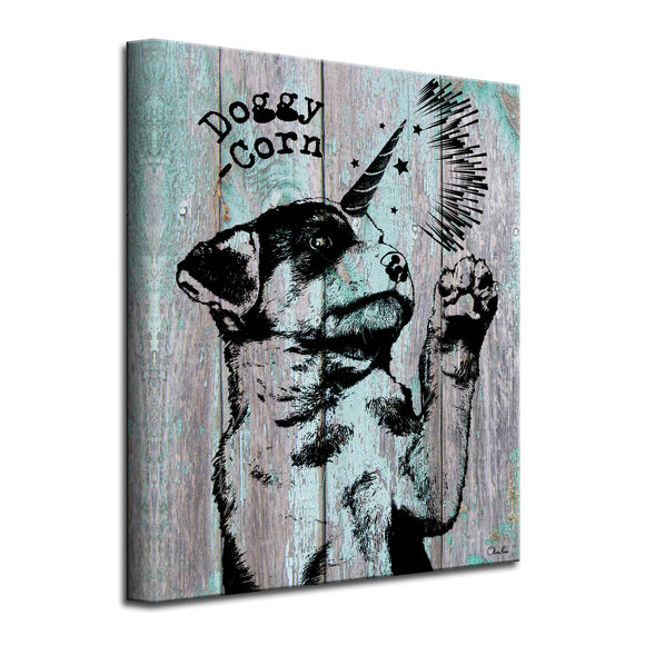 'Doggy-Corn' Wrapped Canvas Animal Wall Art