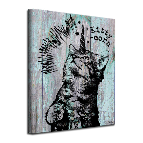 'Kitty-Corn' Wrapped Canvas Animal Wall Art