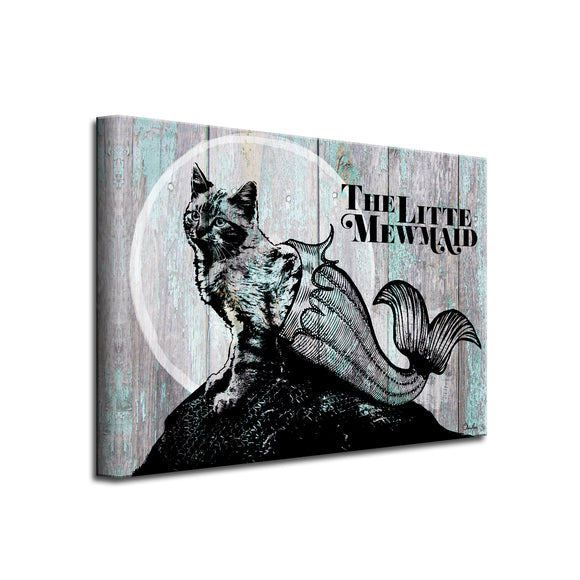 'Little Mewmaid' Wrapped Canvas Cat Wall Art