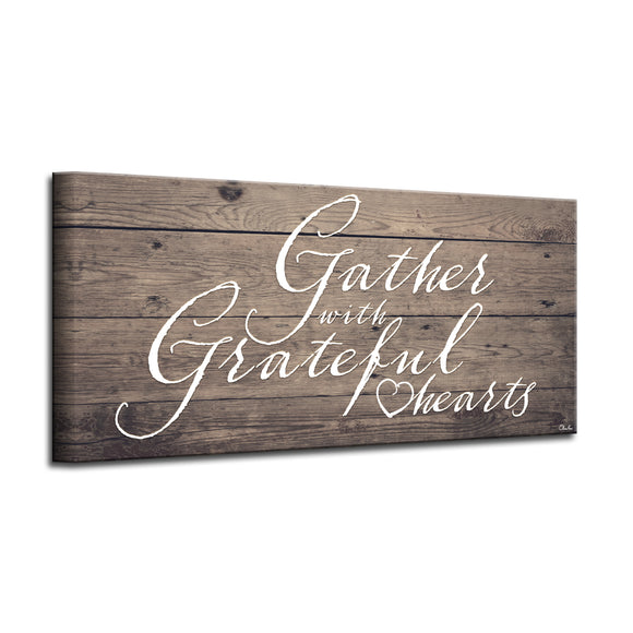 'Grateful Hearts' Wrapped Canvas Harvest Wall Art