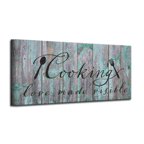 'Cooking' Wrapped Canvas Kitchen Wall Art
