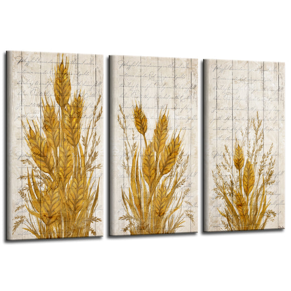 'Harvest Wheat' 3-Pc Canvas Fall Wall Art Set