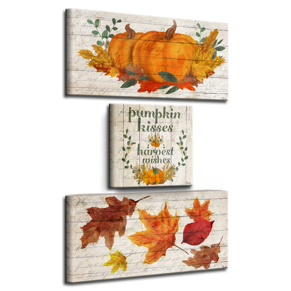 'Pumpkin Kisses & Harvest Wishes' 3-Pc Fall Canvas Wall Art Set