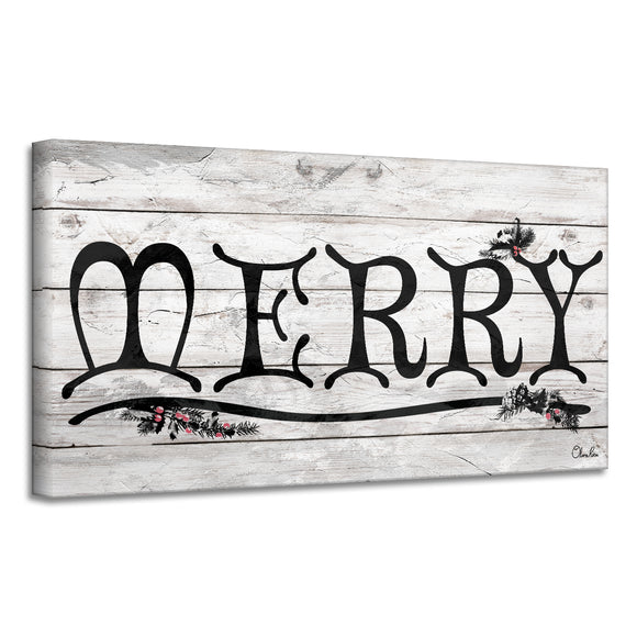 'Merry' Holiday Canvas Wall Art