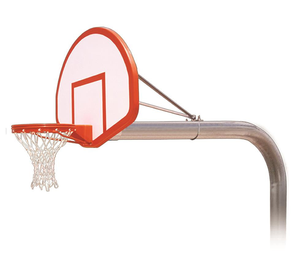 First Team Brute Flight In Ground Outdoor Fixed Height Basketball Hoop 54 inch Fan Shaped Fiberglass