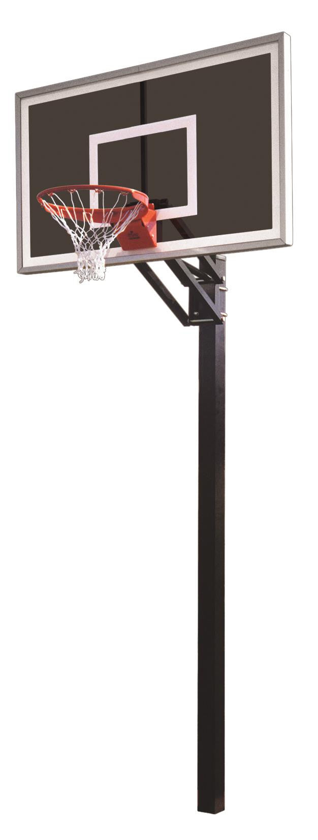 First Team Champ Eclipse In Ground Outdoor Adjustable Basketball Hoop 60 inch Smoked Glass