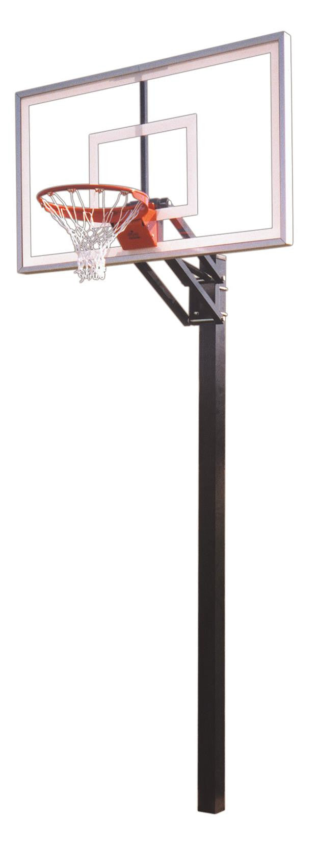 First Team Champ Nitro In Ground Outdoor Adjustable Basketball Hoop 60 inch Tempered Glass