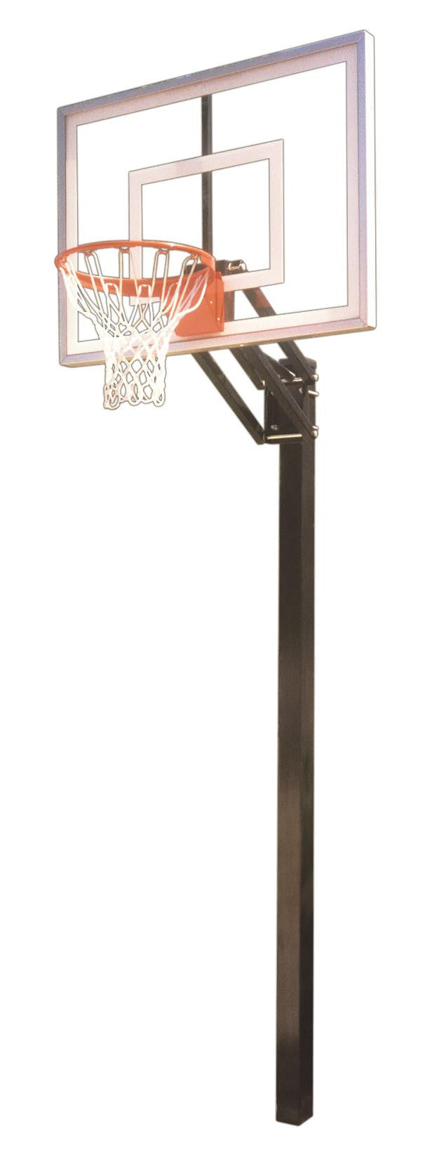First Team Champ Turbo In Ground Outdoor Adjustable Basketball Hoop 54 inch Tempered Glass