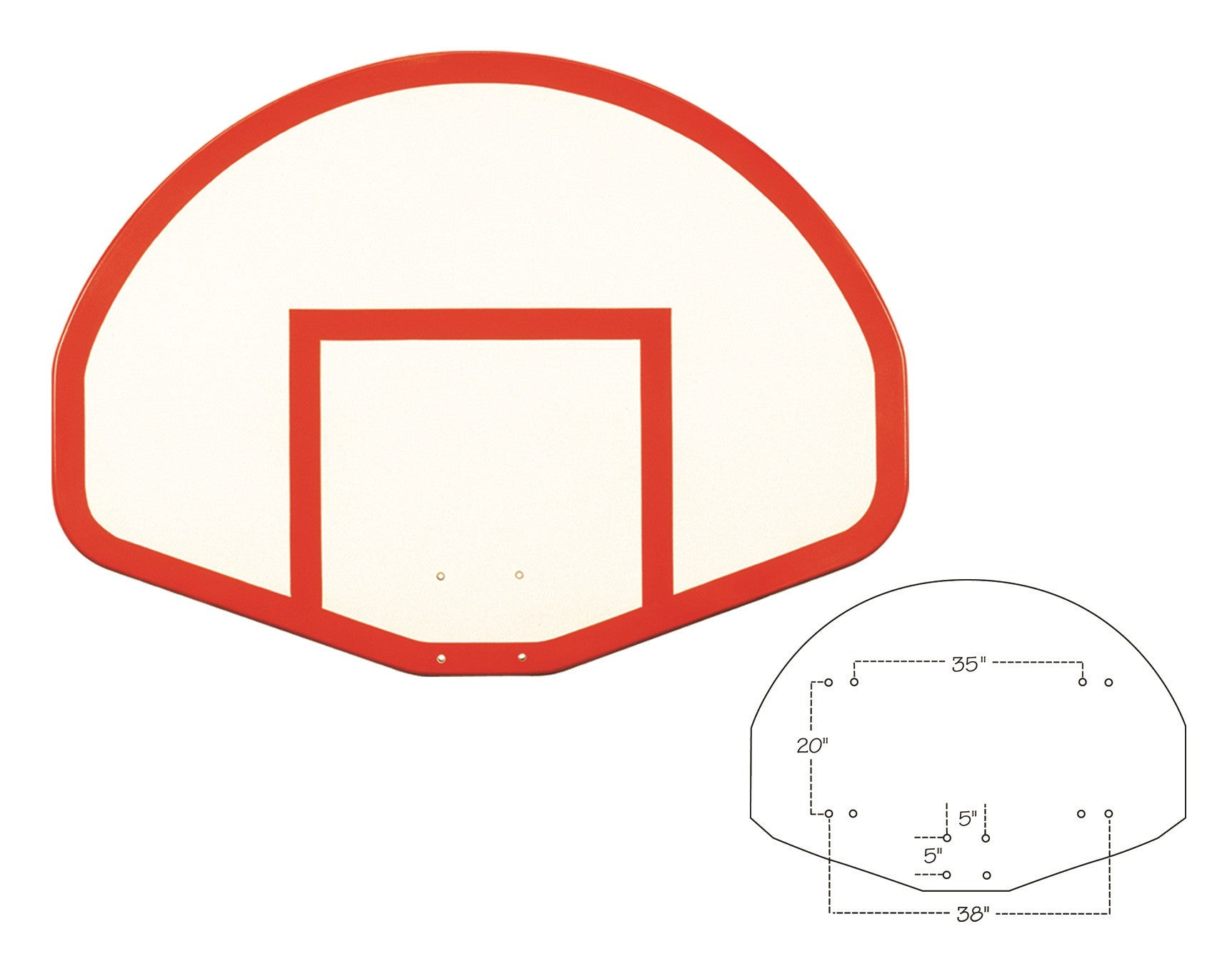First Team Fiberglass Backboard Fan Shaped 39 x 54 inch-FT275