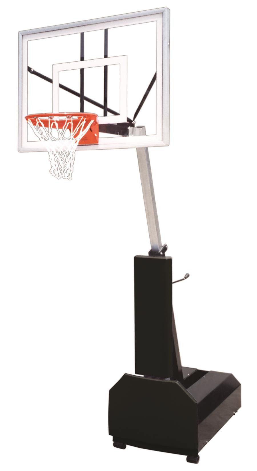 First Team Fury Turbo Adjustable Portable Basketball Hoop 54 inch Tempered Glass