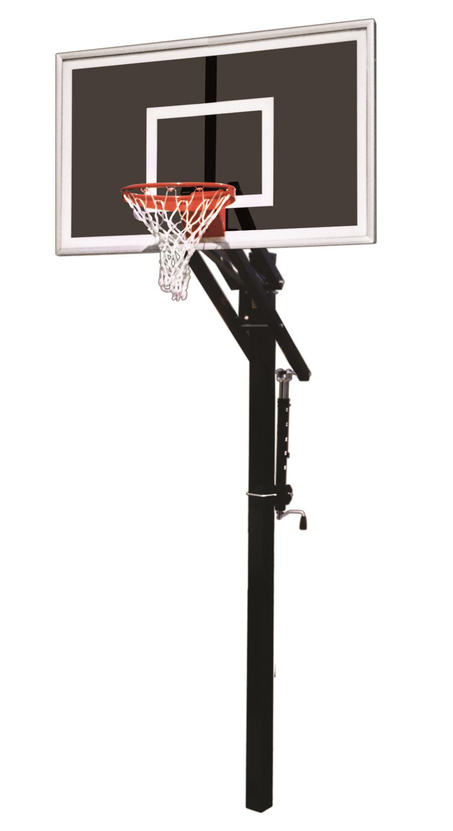 First Team Jam Eclipse In Ground Outdoor Adjustable Basketball Hoop 60 inch Smoked Tempered Glass