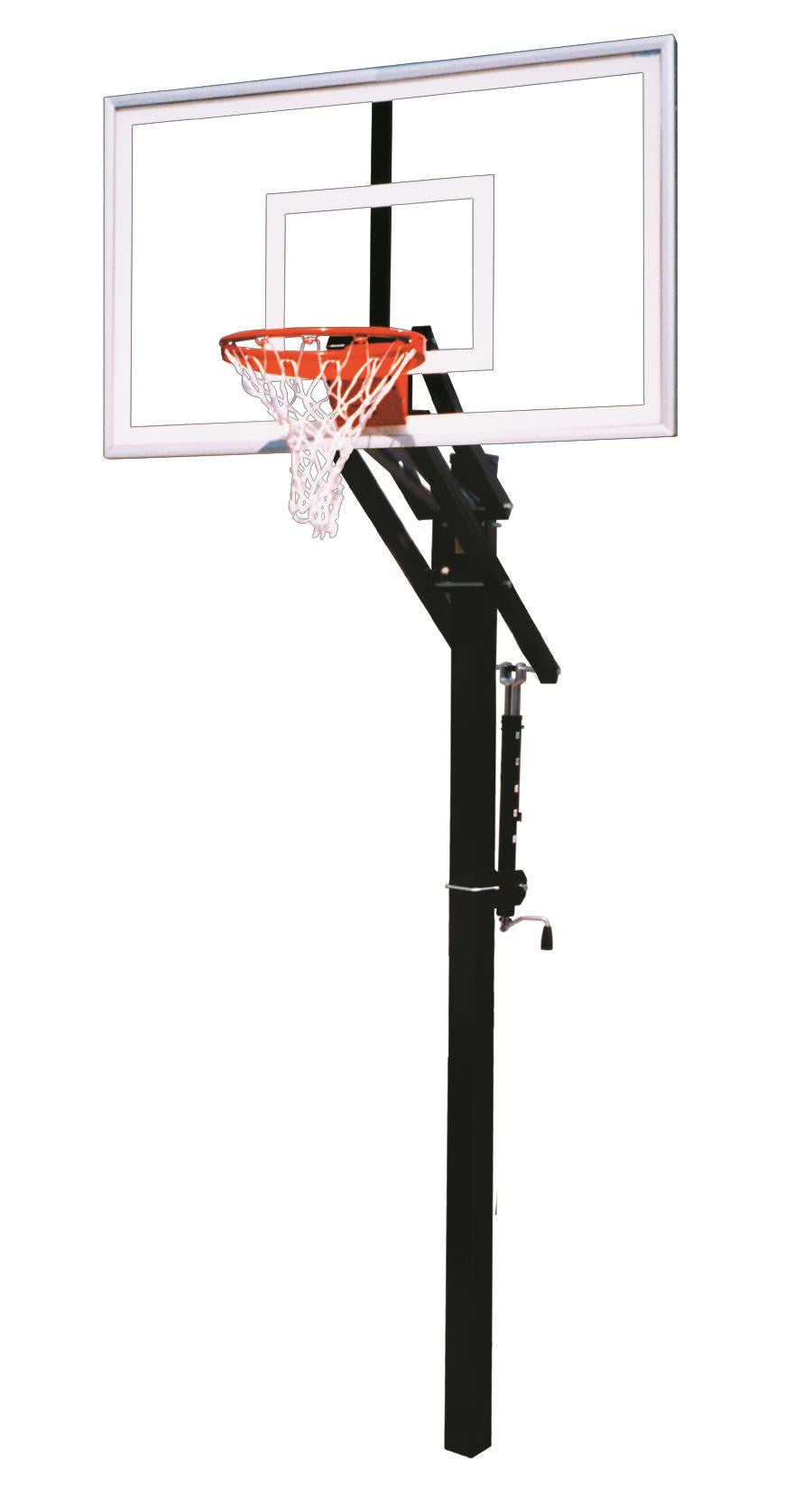 First Team Jam Nitro In Ground Outdoor Adjustable Basketball Hoop 60 inch Tempered Glass