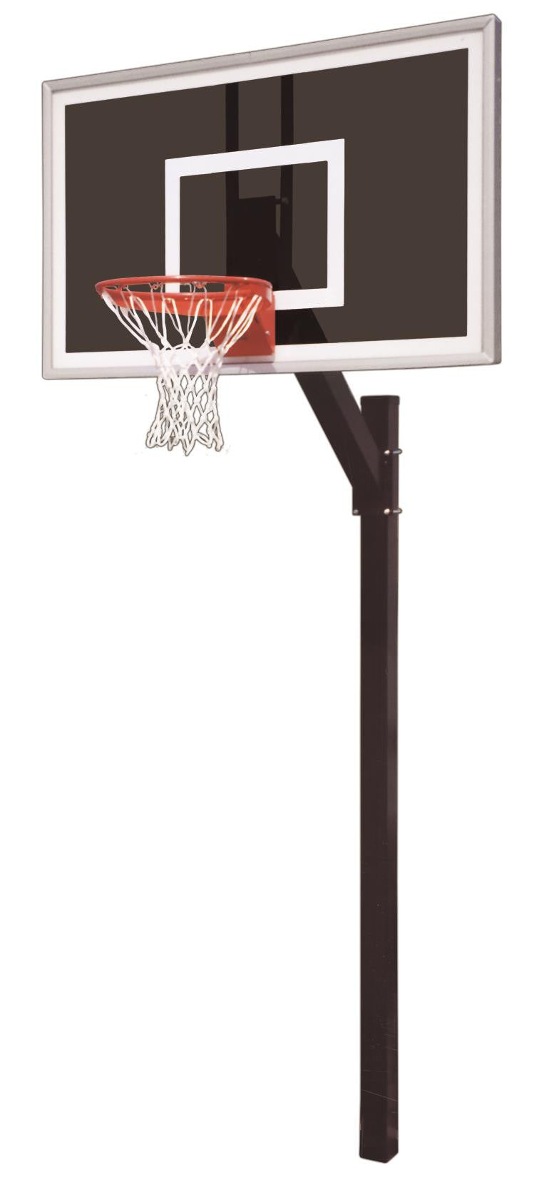 First Team Legacy Eclipse In Ground Fixed Height Outdoor Basketball Hoop 60 inch Smoked Glass