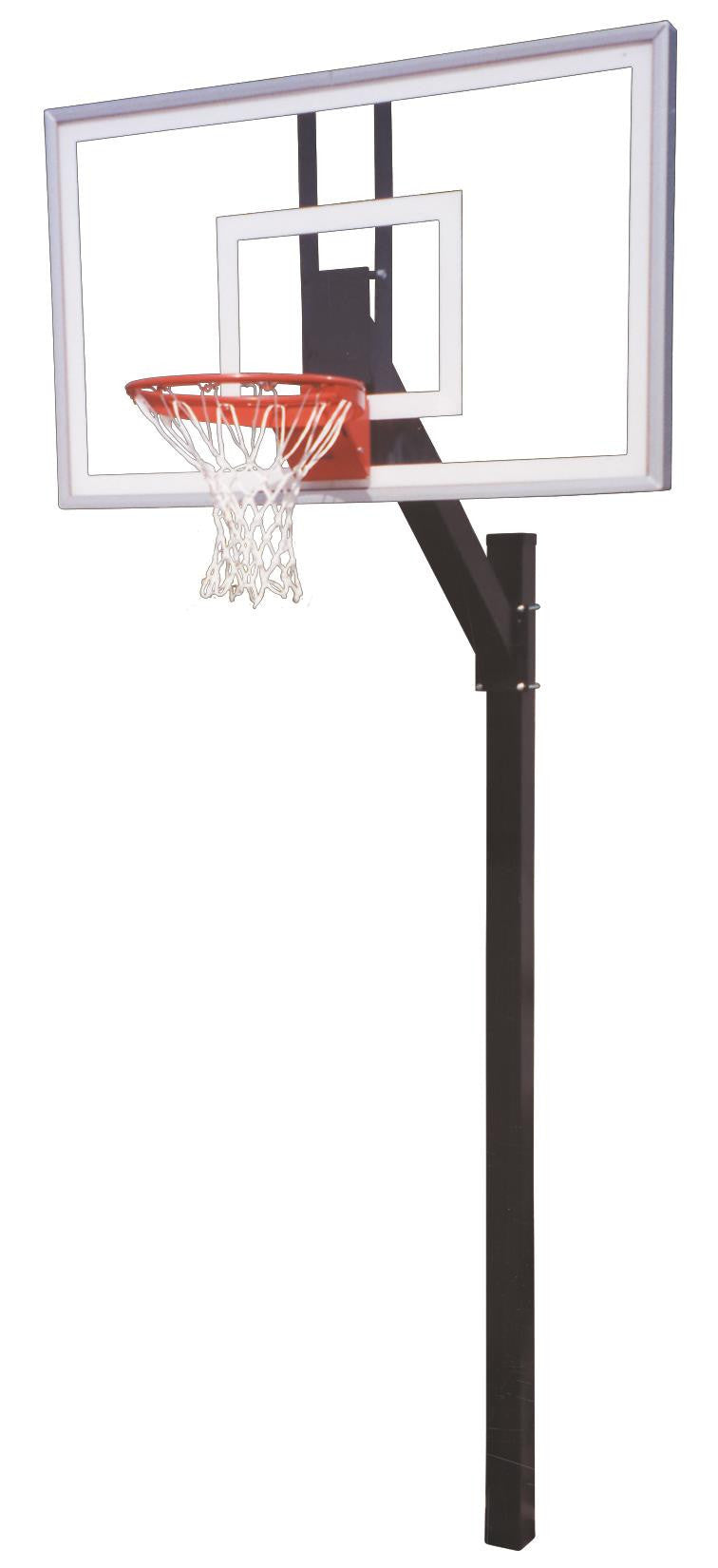 First Team Legacy Nitro In Ground Fixed Height Outdoor Basketball Hoop 60 inch Tempered-Glass