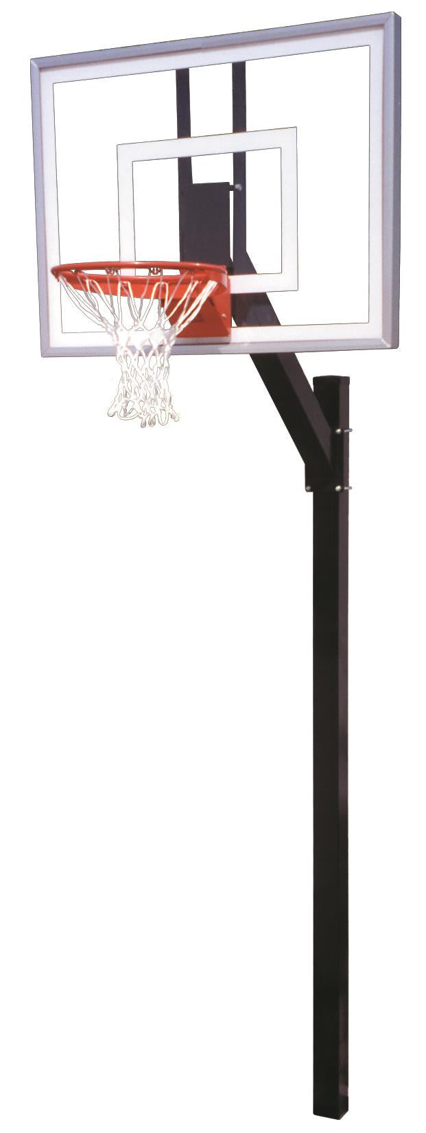 First Team Legacy Turbo In Ground Fixed Height Outdoor Basketball Hoop 54 inch Tempered Glass