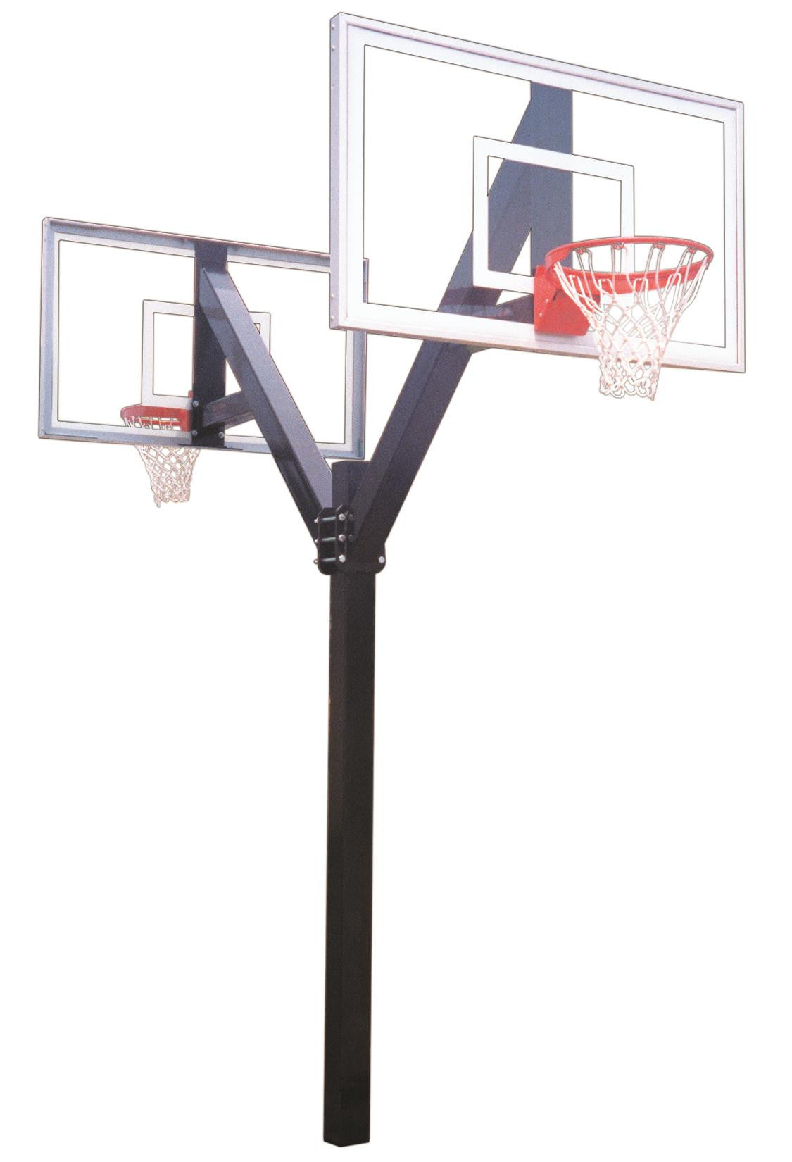 First Team Legend Jr Select DUAL In Ground Fixed Height Outdoor Basketball Hoop 60 inch Acrylic