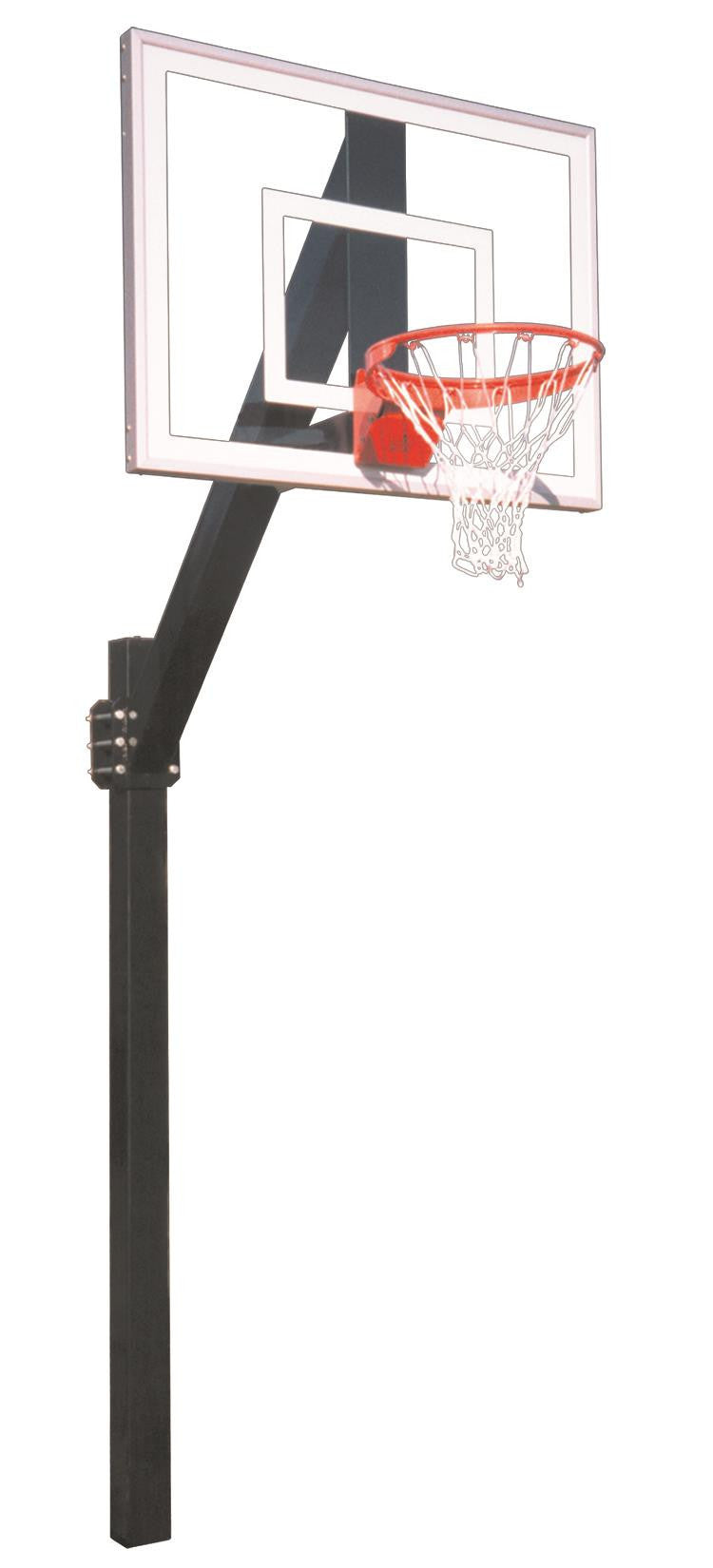 First Team Legend Jr Ultra In Ground Fixed Height Outdoor Basketball Hoop 54 inch Tempered Glass
