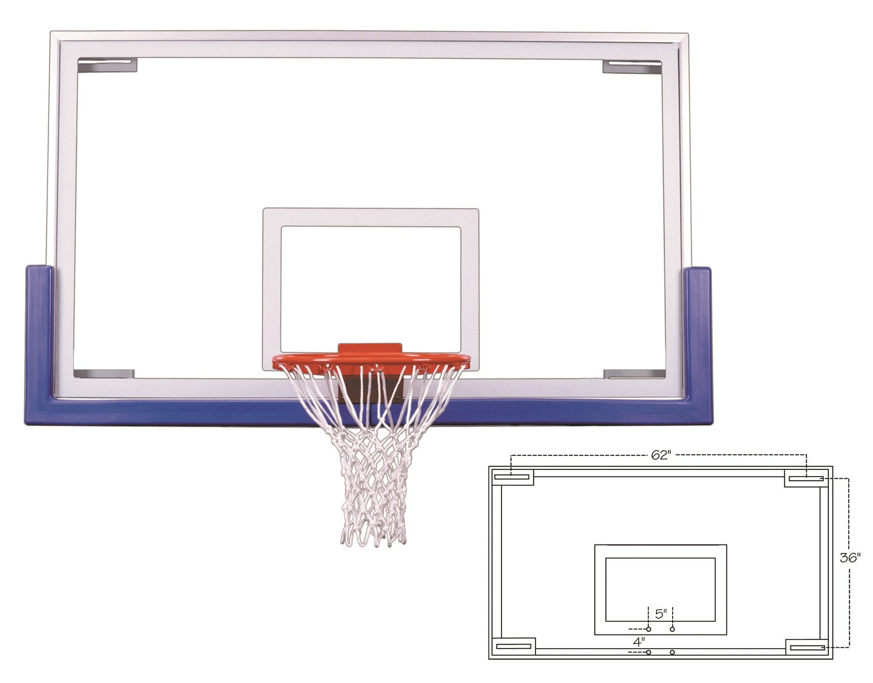 First Team Official Competition Glass Backboard Unbreakable 42 x 72 inch - FT235