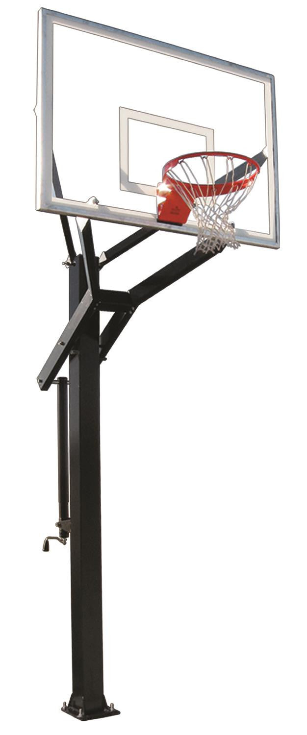 First Team Powerhouse 660 In Ground Outdoor Adjustable Basketball Hoop 60 inch Tempered Glass
