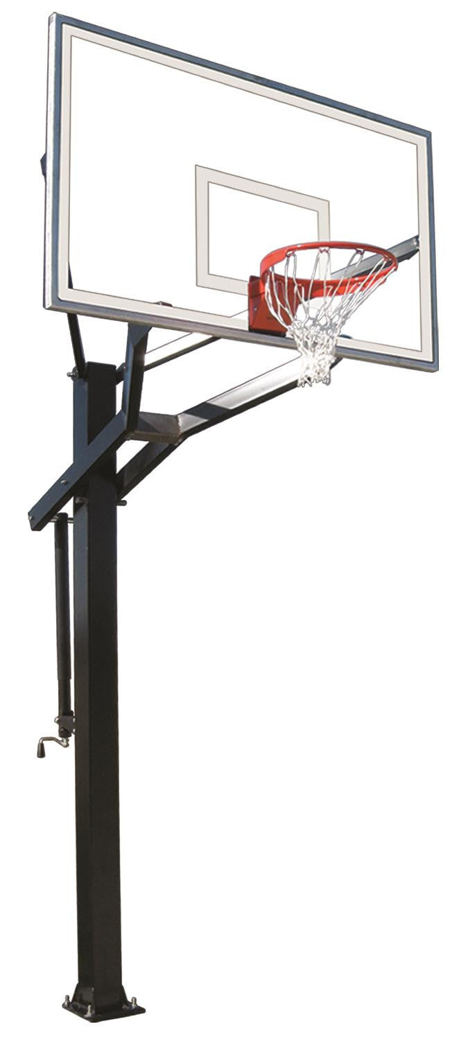 First Team Powerhouse 672 In Ground Outdoor Adjustable Basketball Hoop 72 inch Tempered Glass