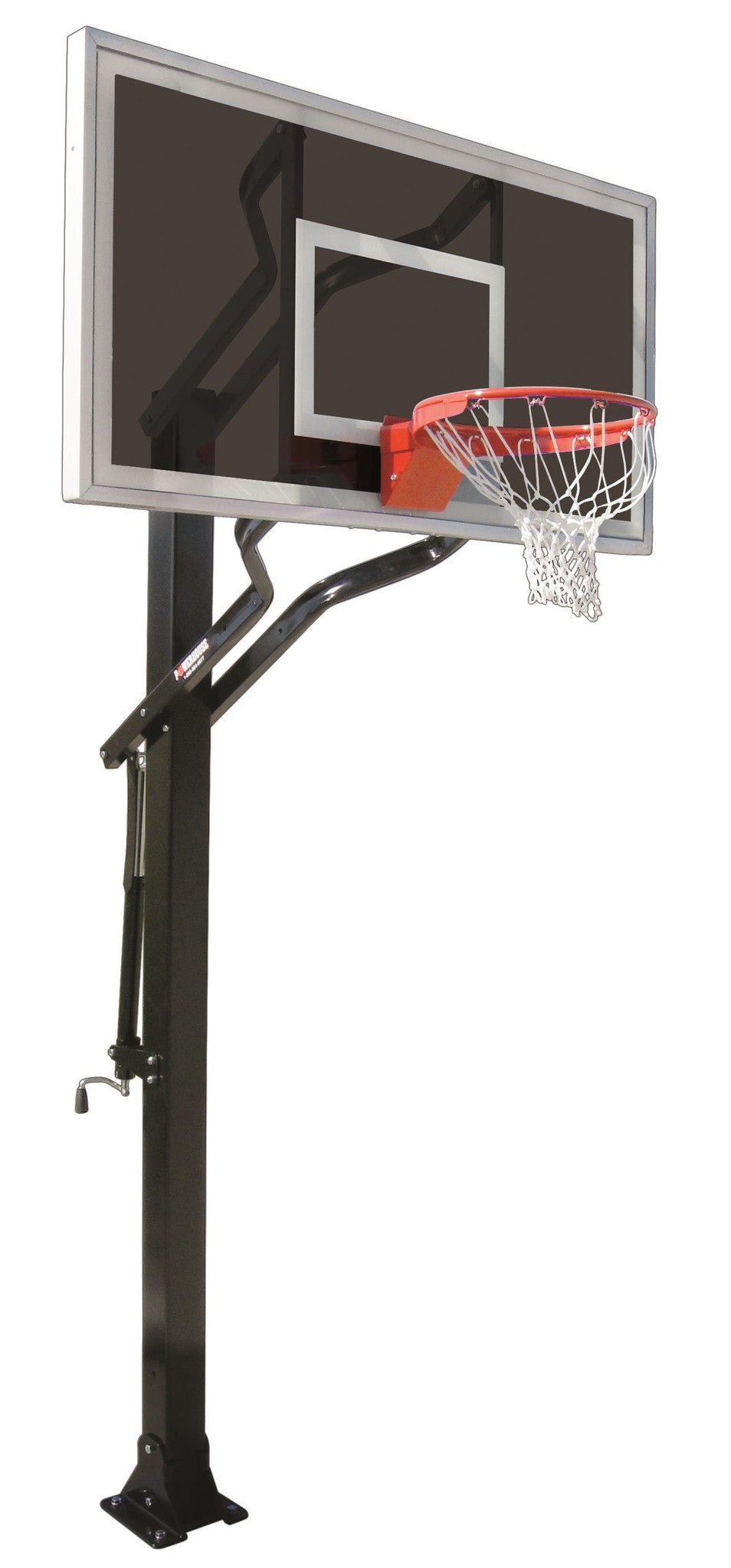 First Team Powerhouse Challenger Eclipse In Ground Outdoor Adjustable Basketball Hoop 60 inch Smoked Glass