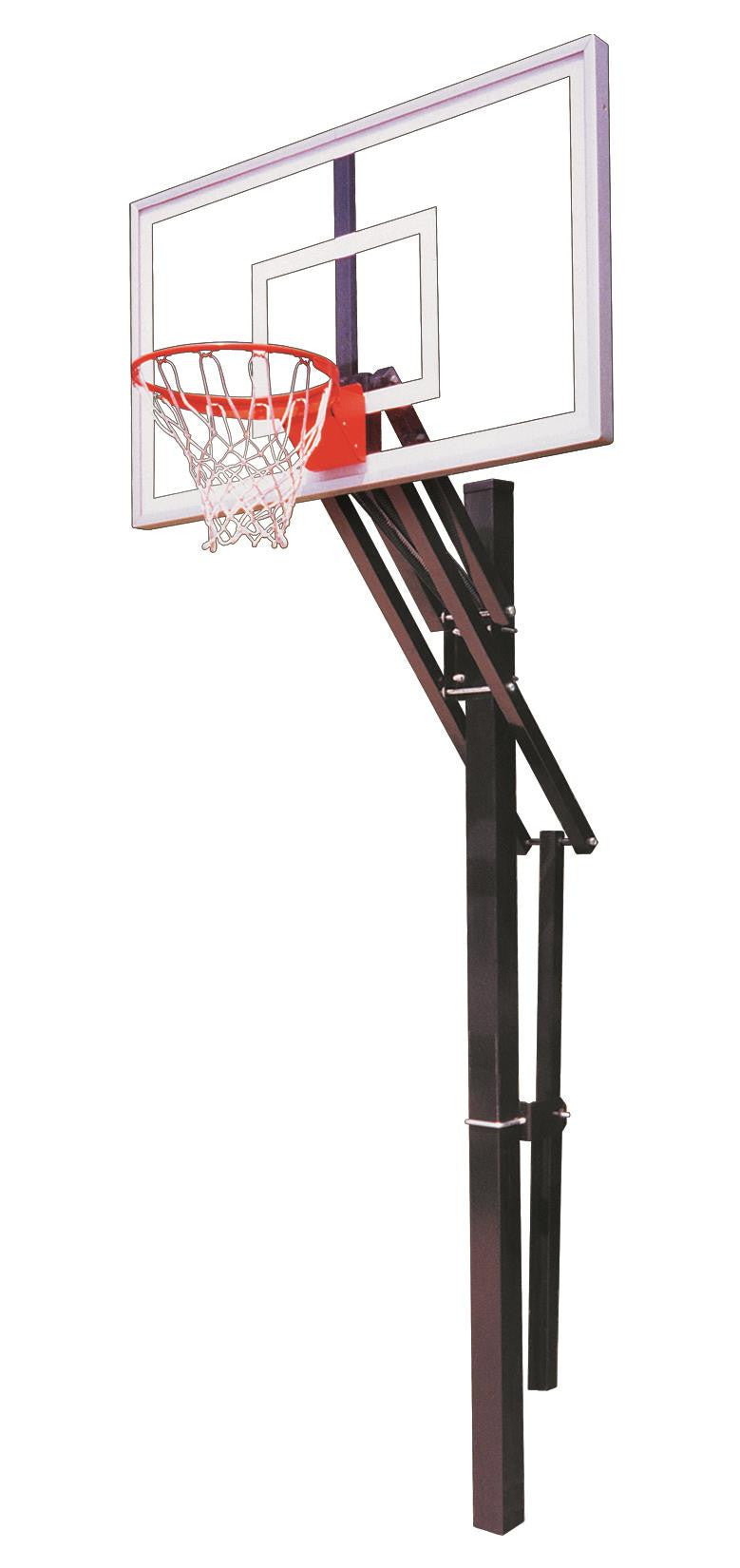First Team Slam Nitro In Ground Outdoor Adjustable Basketball Hoop 60 inch Tempered Glass