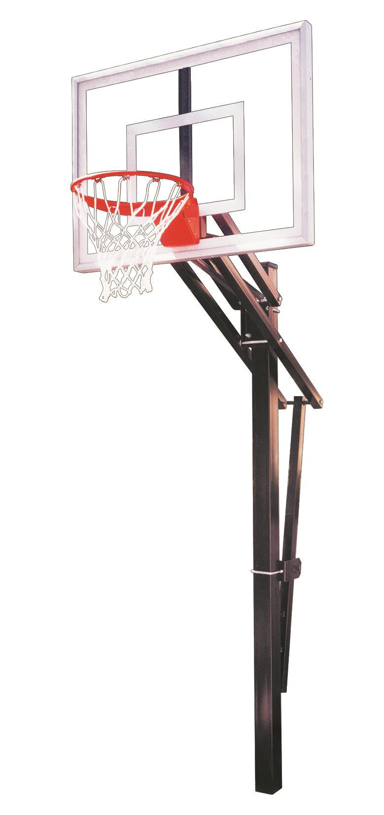 First Team Slam Turbo In Ground Outdoor Adjustable Basketball Hoop 54 inch Tempered Glass