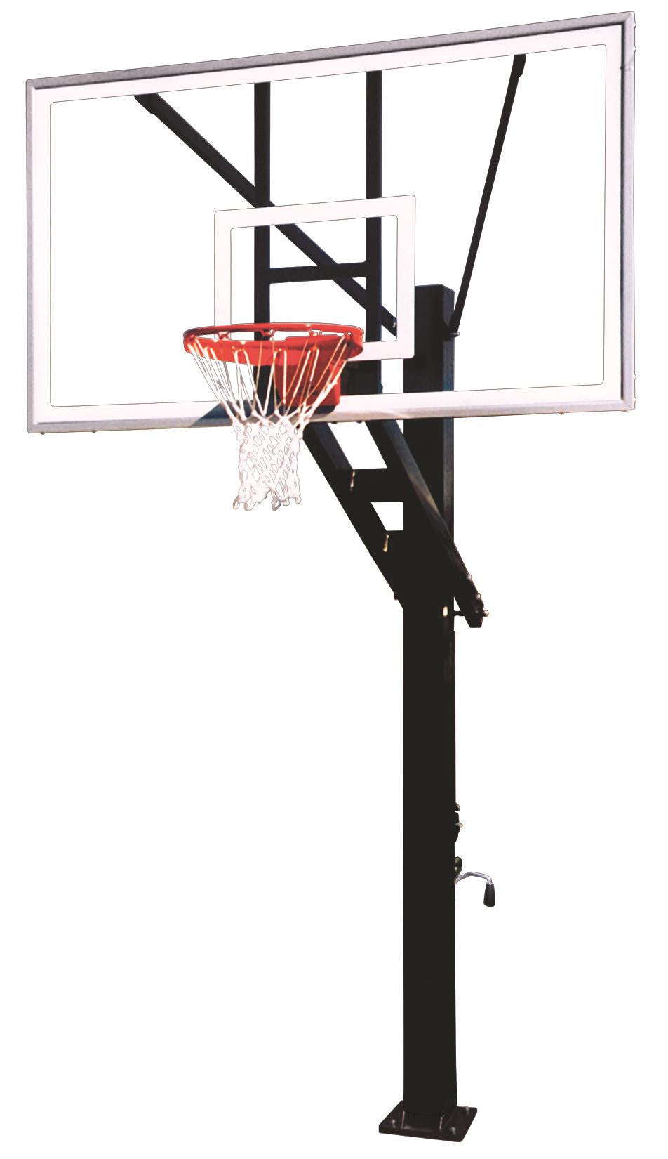 First Team Stainless Olympian Arena In Ground Adjustable Outdoor Basketball Hoop 72 inch Tempered Glass