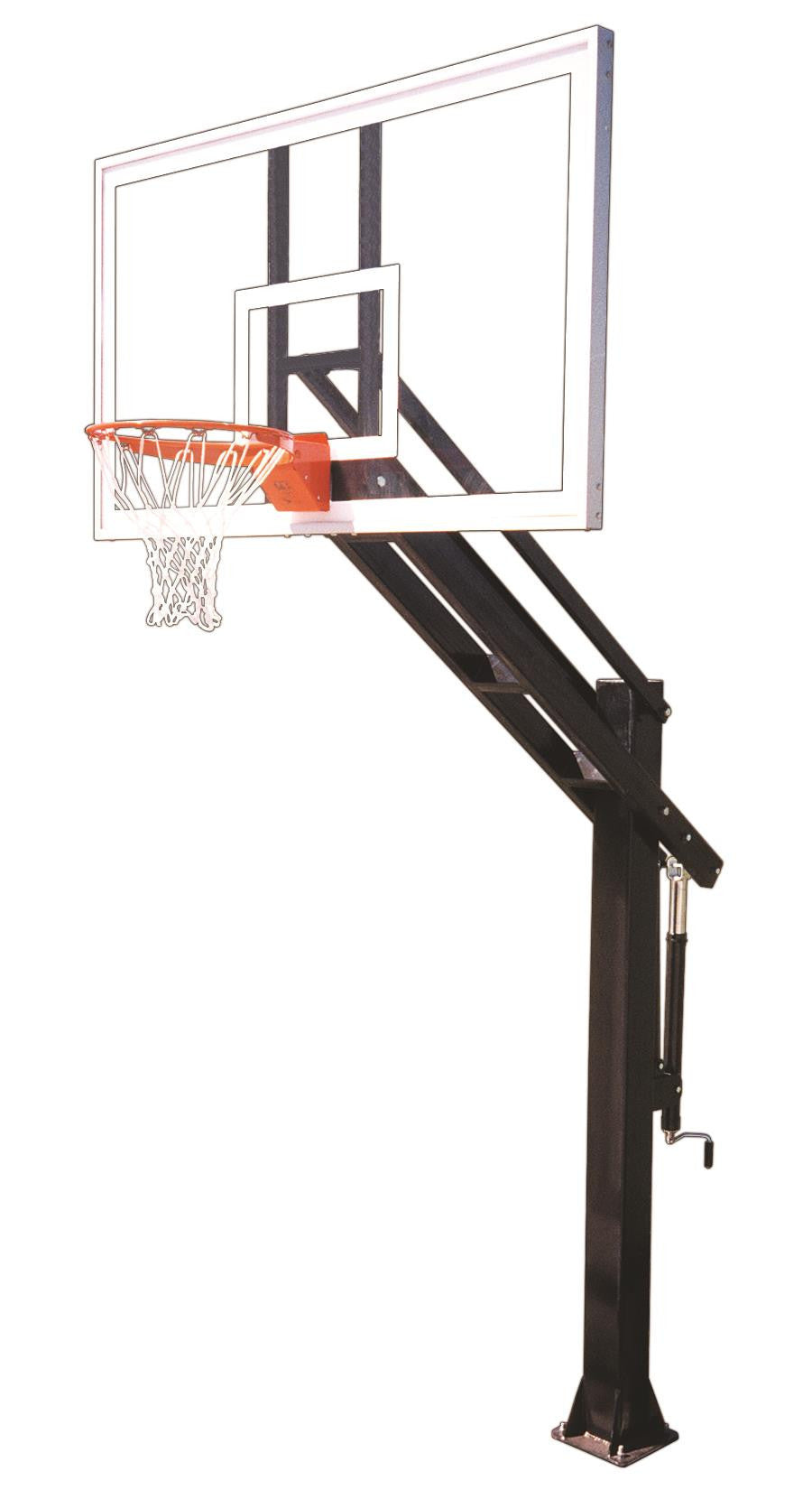 First Team Titan Arena In Ground Outdoor Adjustable Basketball Hoop 72 inch Tempered Glass