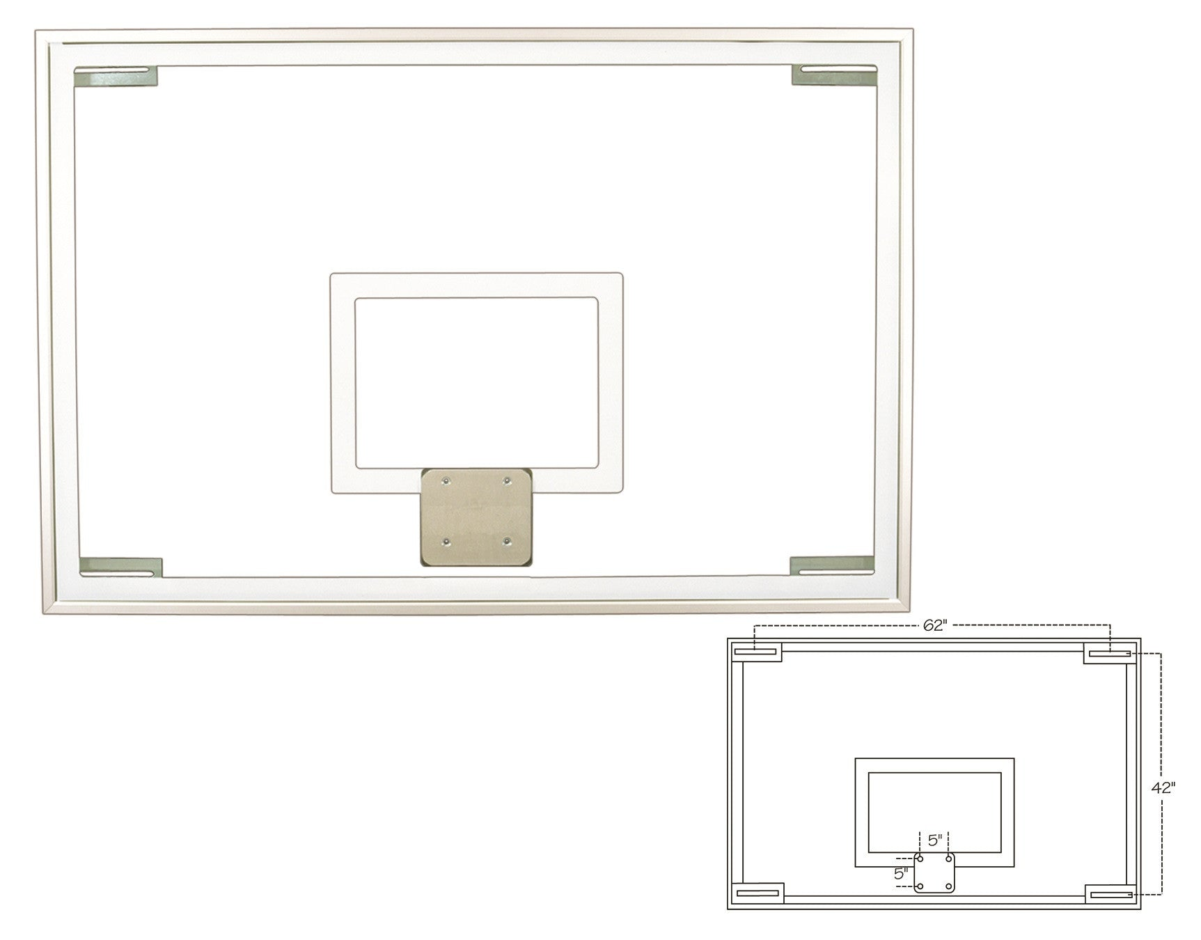 First Team Traditional Competition Glass Rectangular Conversion Backboard 48 x 72 inch-FT236