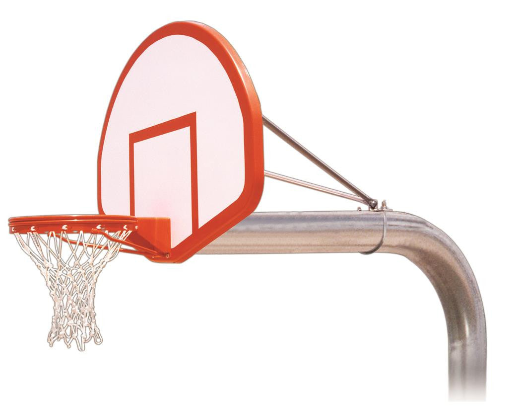 First Team Tyrant Flight In Ground Outdoor Fixed Height Basketball Hoop 54 inch Fan Shaped Fiberglass