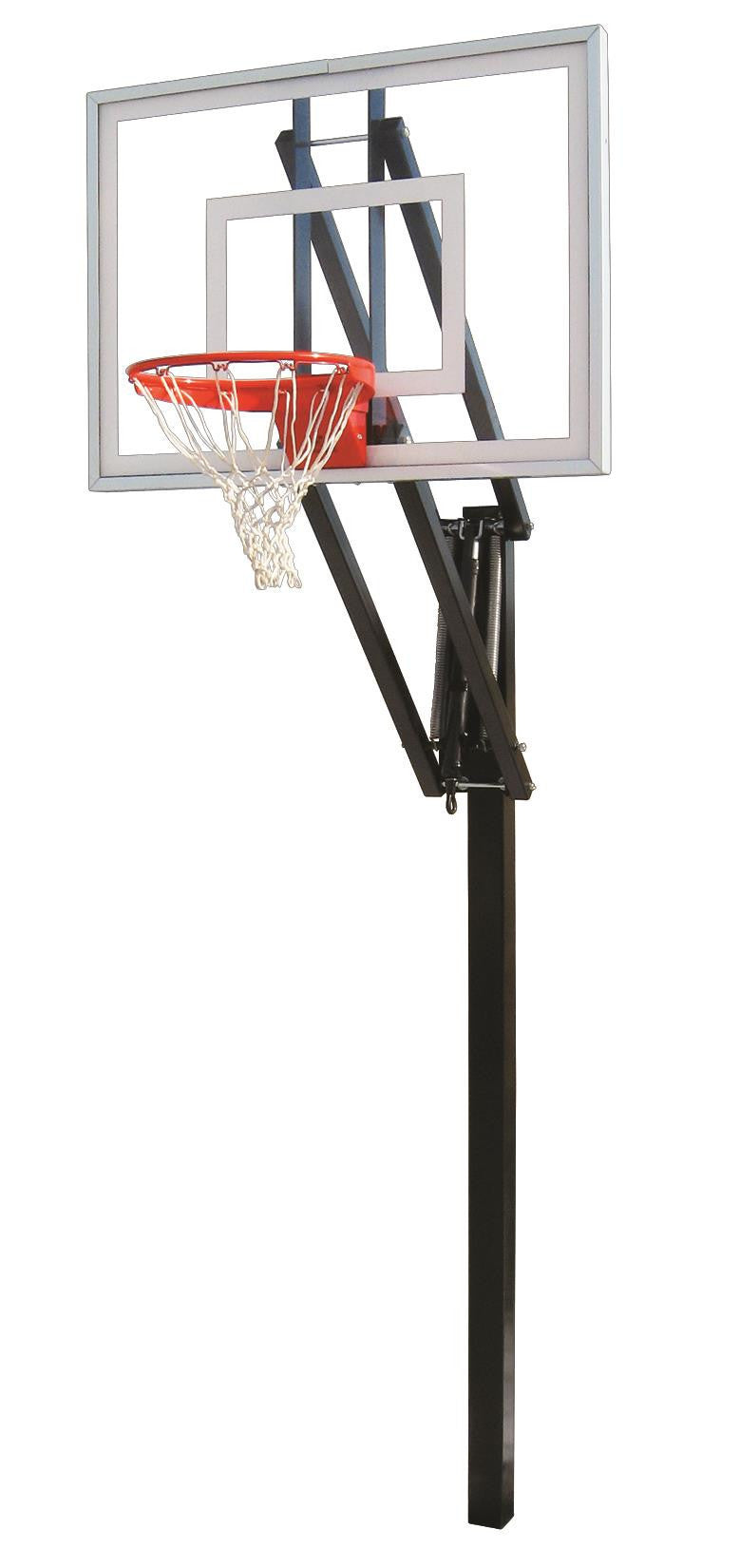 First Team Vector Turbo In Ground Outdoor Adjustable Basketball Hoop 54 inch Tempered Glass