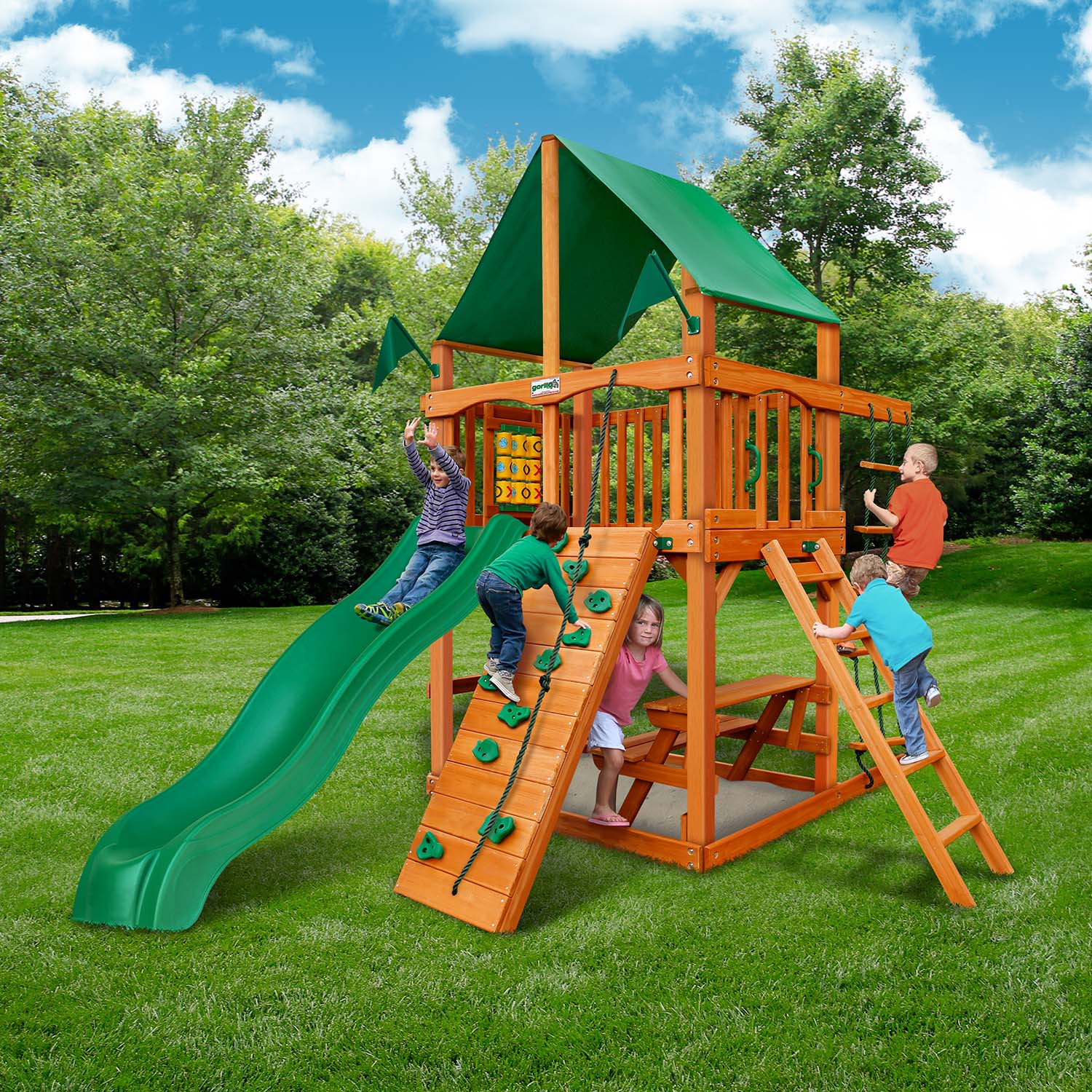 Gorilla Playsets Chateau Tower Deluxe Wooden Swing Set Nj Swingsets