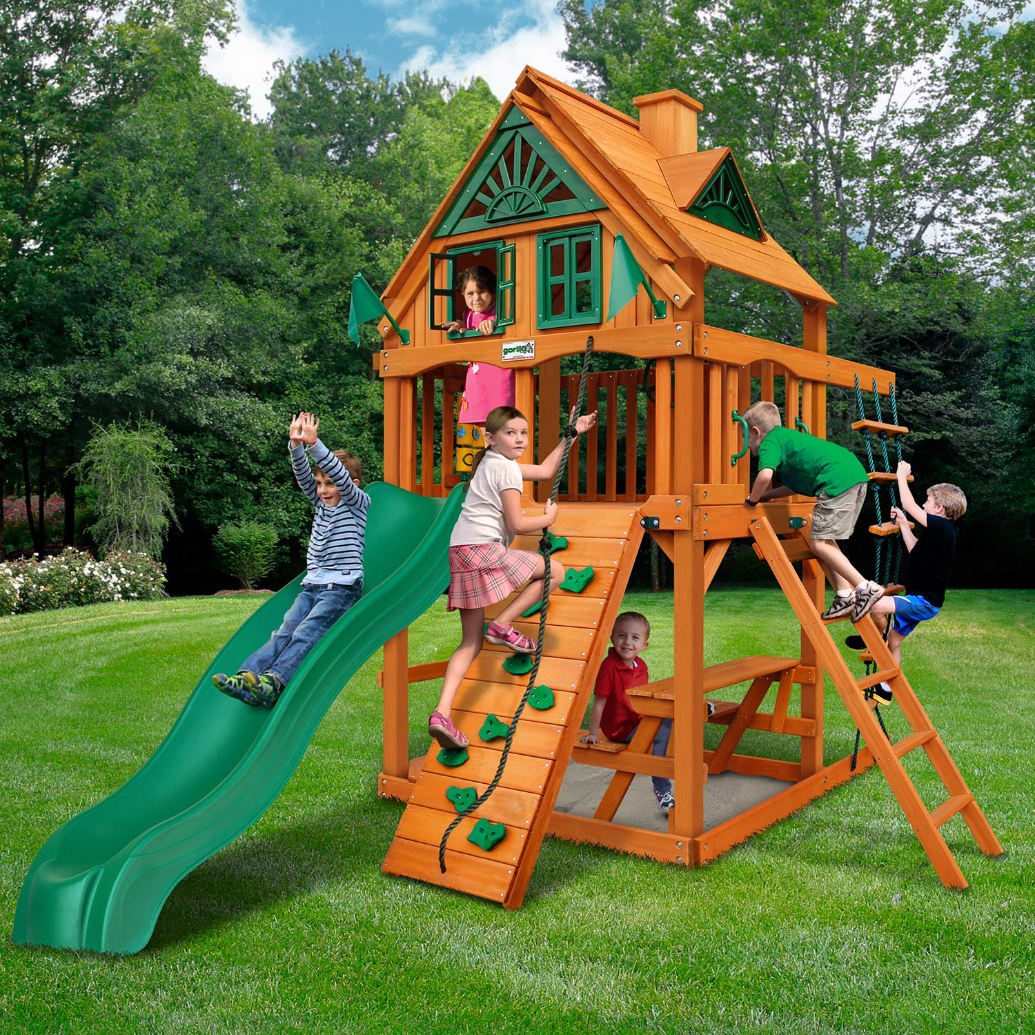 Gorilla Playsets Chateau Tower Treehouse Wooden Swing Set Nj Swingsets