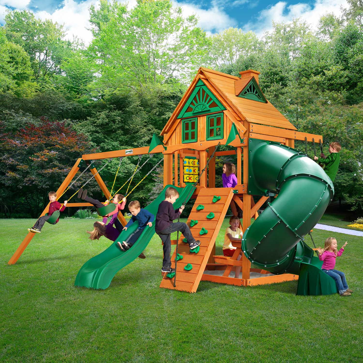 Gorilla Playsets Mountaineer Treehouse Wooden Swingset Gorilla Playsets Mountaineer Treehouse Wooden Swing
