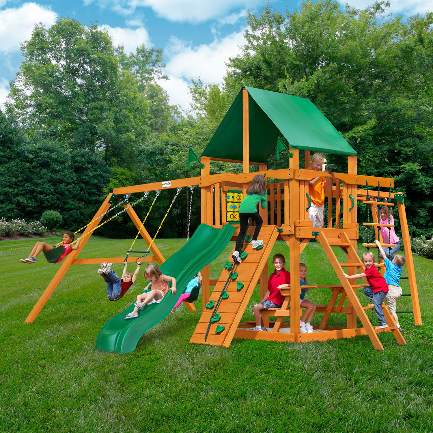 Gorilla-Playsets-Navigator-Deluxe-Wooden-Swingset-Front-Side
