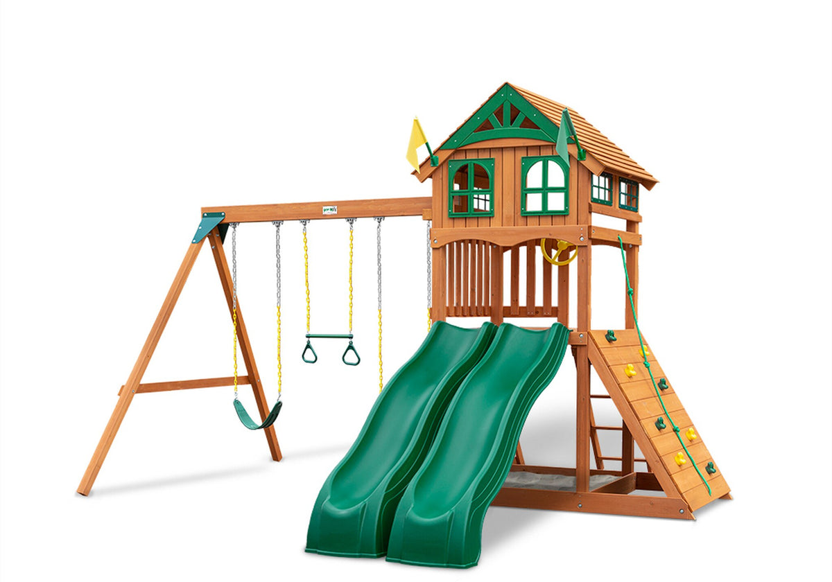 Gorilla-Playsets-Outing-W-Dual-Slides-Wooden-Swing-Set-Wood-Roof