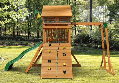 Gorilla-Playsets-Outing-W-Monkey-Bars-Wooden-Swing-Rockwall