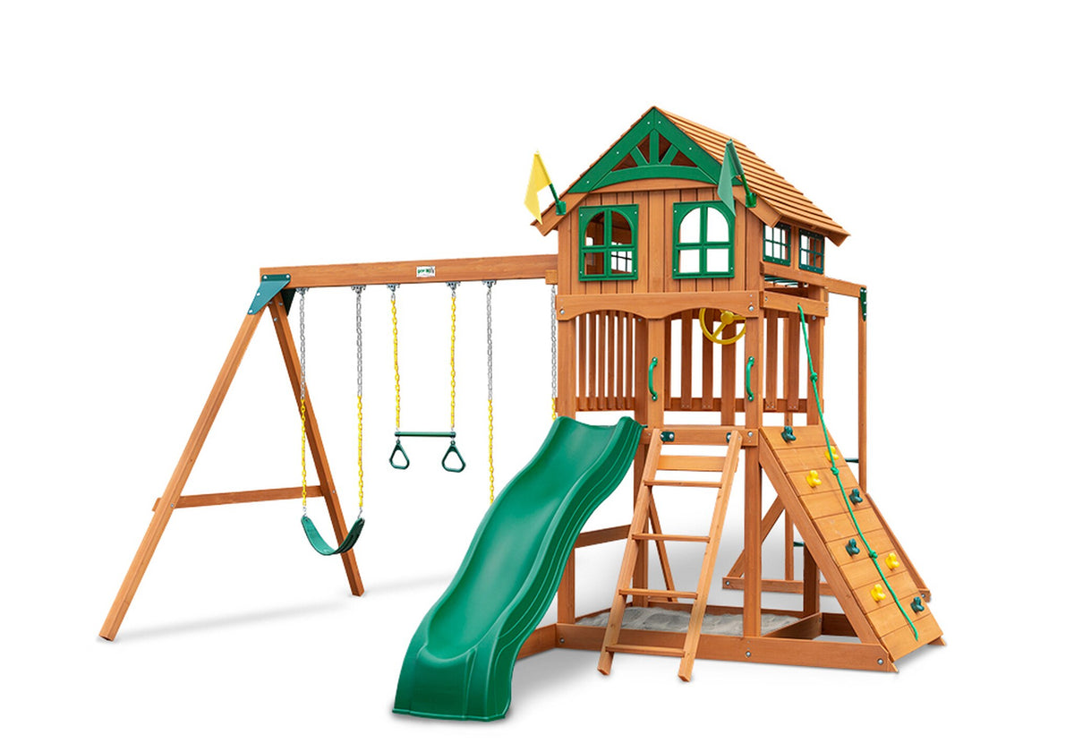 Gorilla-Playsets-Outing-W-Monkey-Bars-Wooden-Swing-Set-Wood-Roof