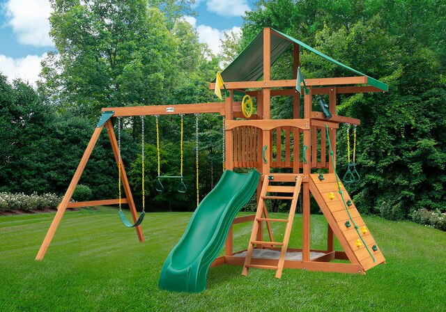 Gorilla-Playsets-Outing-W-Trapeze-Bar-Wooden-Swing-Set-Front
